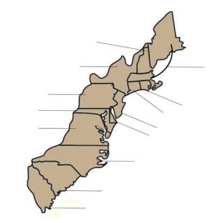 Worksheet. 18 Southern Colonies Map